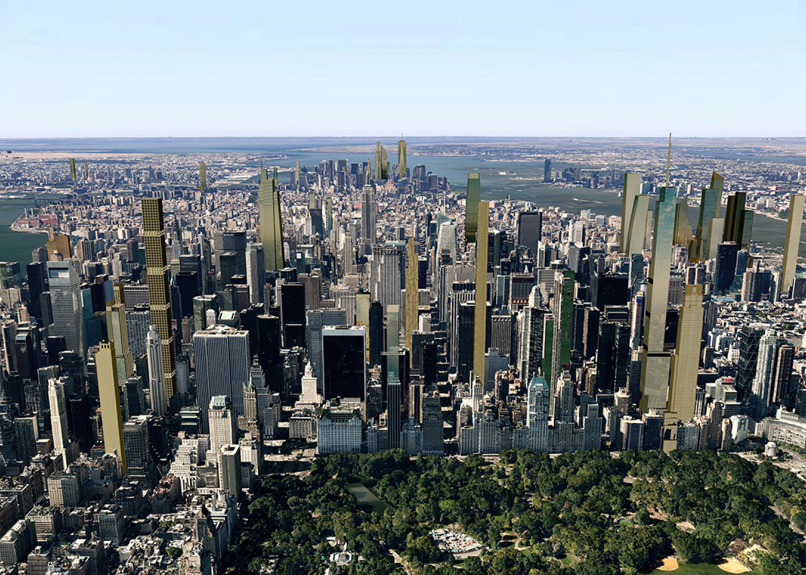 A visualisation of the New York skyline around Central Park in 2018, when many of the city's new tall skyscrapers will be complete. Image by CityRealty