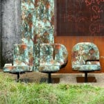 Jean Paul Gaultier customises Typographia chairs by Tabisso with rust-patterned upholstery