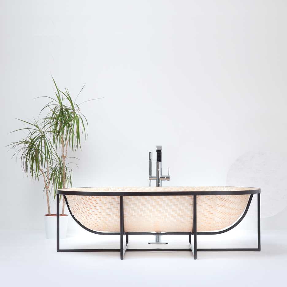 Tal Engel's Otaku bathtub is woven from wood
