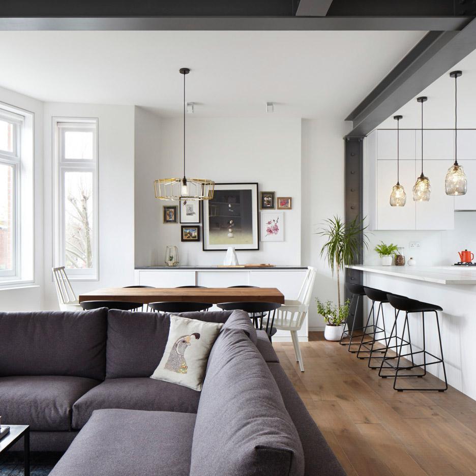 Rise design studio renovates flat inside a 19th century for Studio interior design london
