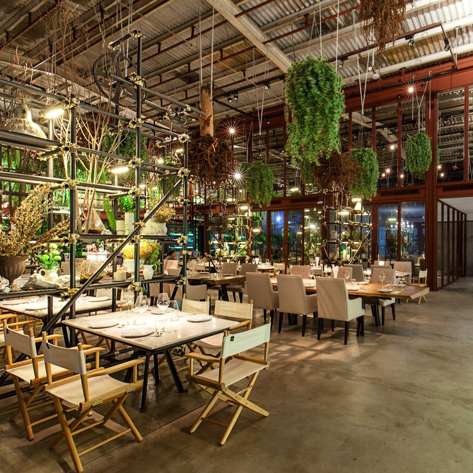 Hypothesis uses plants and discarded objects to create Vivarium restaurant interior
