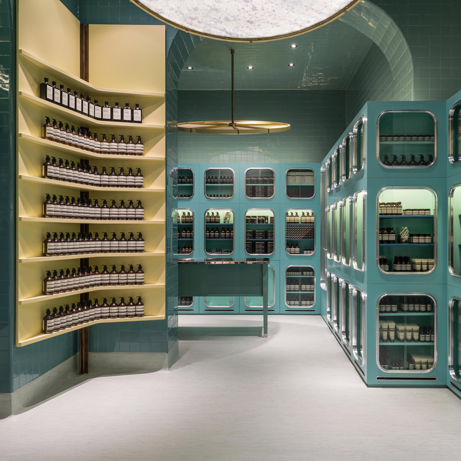 Dimorestudio designs glossy teal interior for Aesop Magenta store