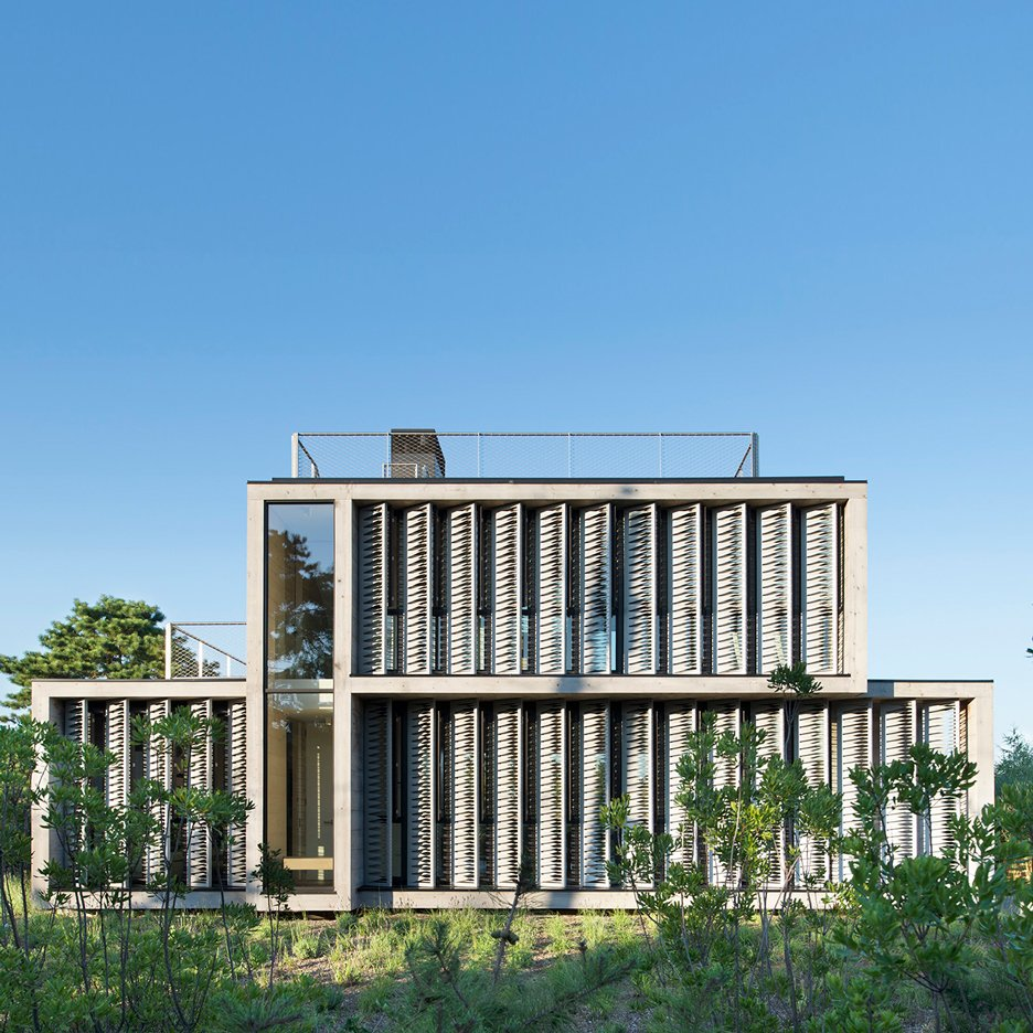 Amagansett Dunes House by Bates Masi Architects is shaded with strips of canvas