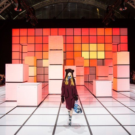 INCA Productions creates pixelated set for Anya Hindmarch's Autumn Winter 2016 fashion show