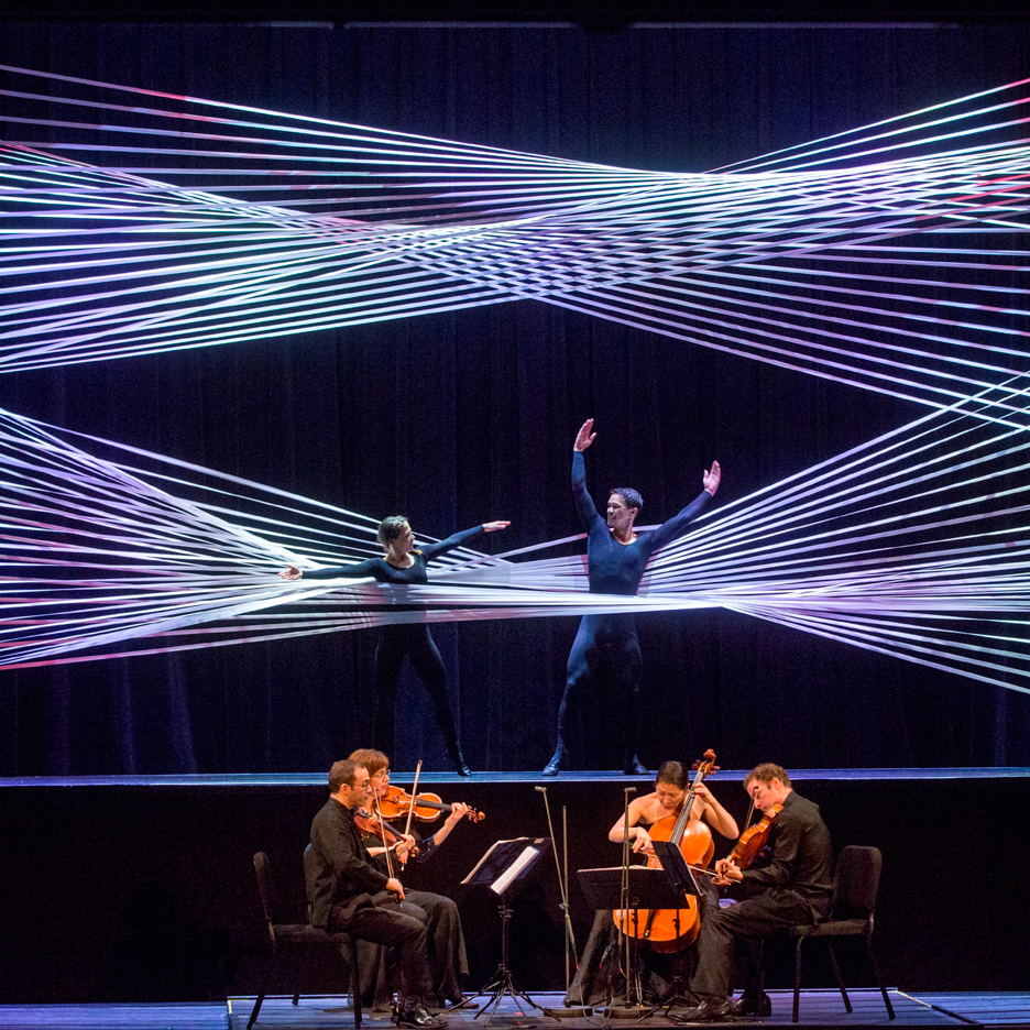 Gabriel Calatrava designs stretchy rope installation for classical music performance
