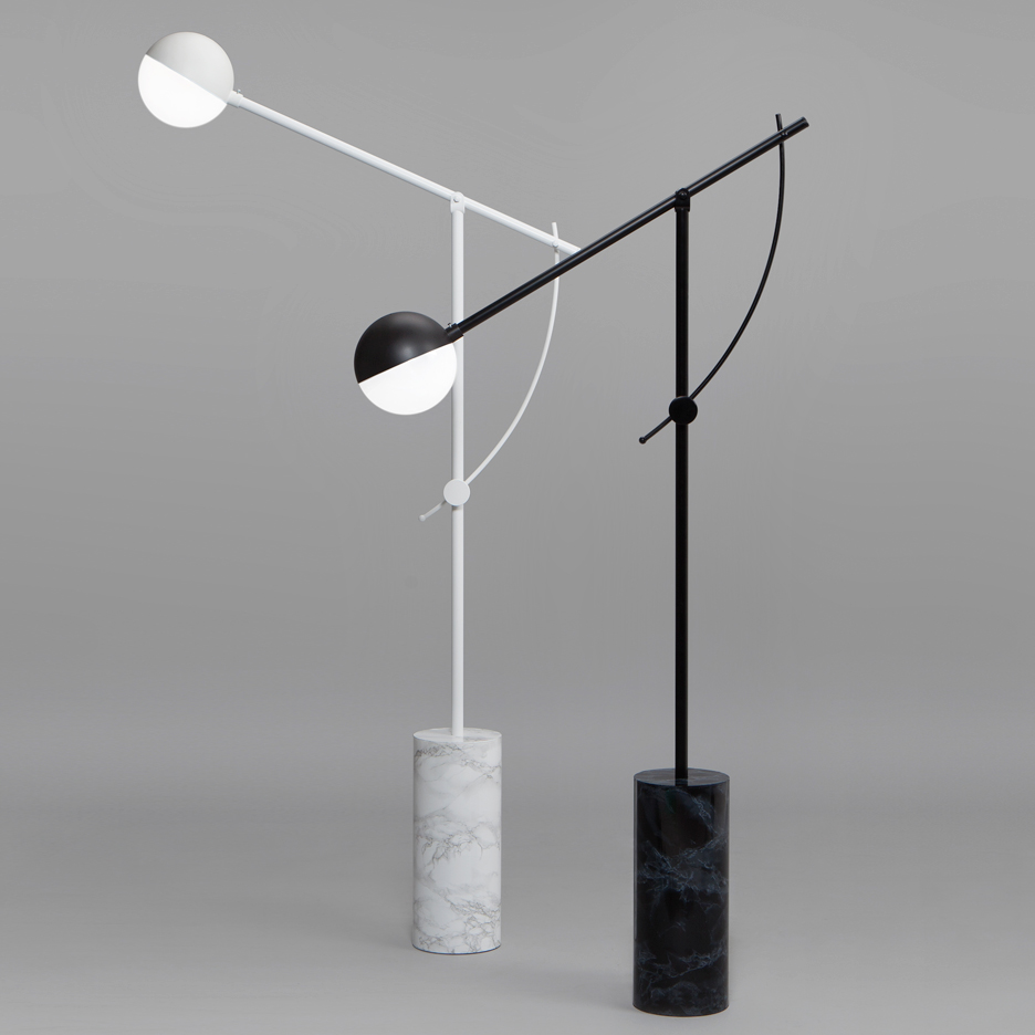 Yuue Design's Balancer lamp pivots using a sliding mechanism
