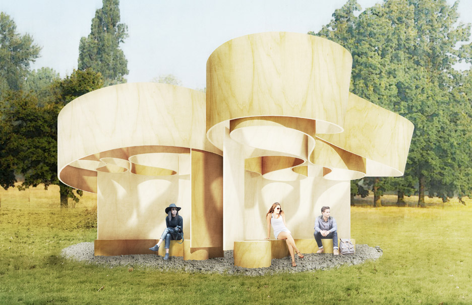 Serpentine Summer Houses include looping wooden pavilion and inverted replica building