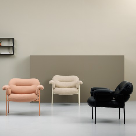 Andreas Engesvik's Bollo chair for Fogia contrasts large cushions with thin frame