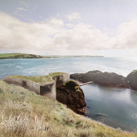 Carmody Groarke reveals plans for cliffside hotel on Devon's Burgh Island