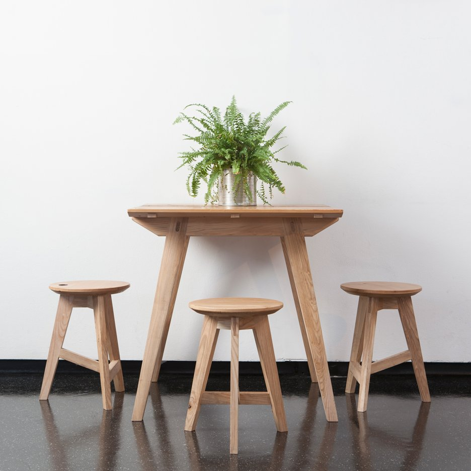 Jan Hendzel creates wooden furniture for pop-up cafe at Camberwell College of Arts