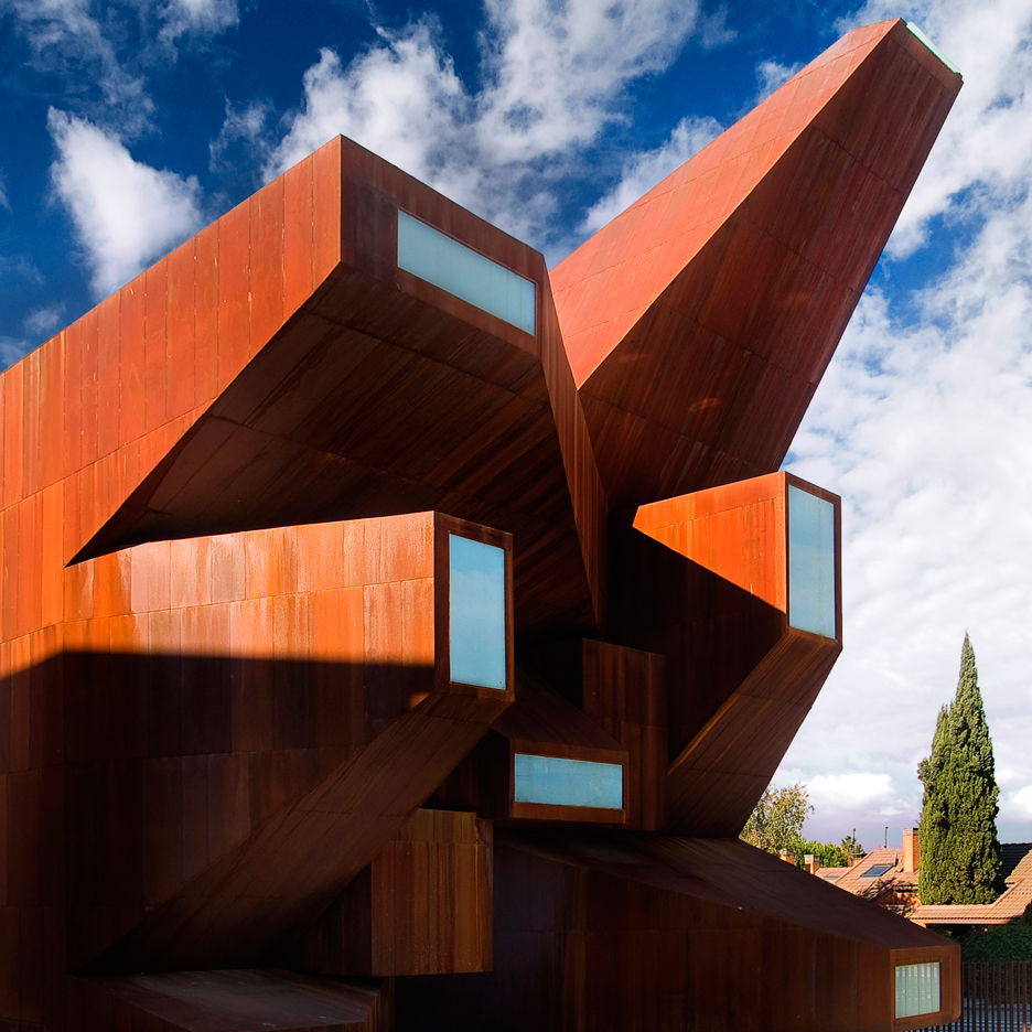 "Pre-rusted steel church by Vicens + Ramos features an ""explosion"" of windows"