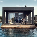 Houseboat by Laust Nørgaard floats in Copenhagen harbour