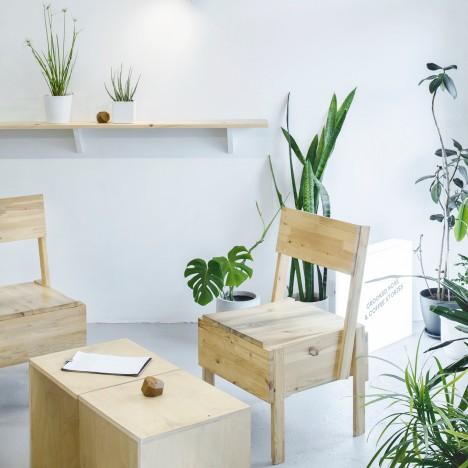 Inga Pieslikaitė designs minimal interior for Crooked Noses & Coffee Stories