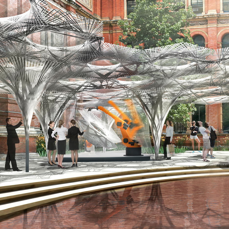 Robot-built pavilion proposed by Achim Menges for V&A museum courtyard