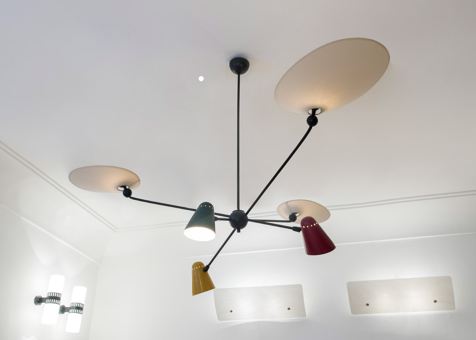 Robert Mathieu created his six-armed ceiling lamp in 1954. Photography by Deniz Guzel