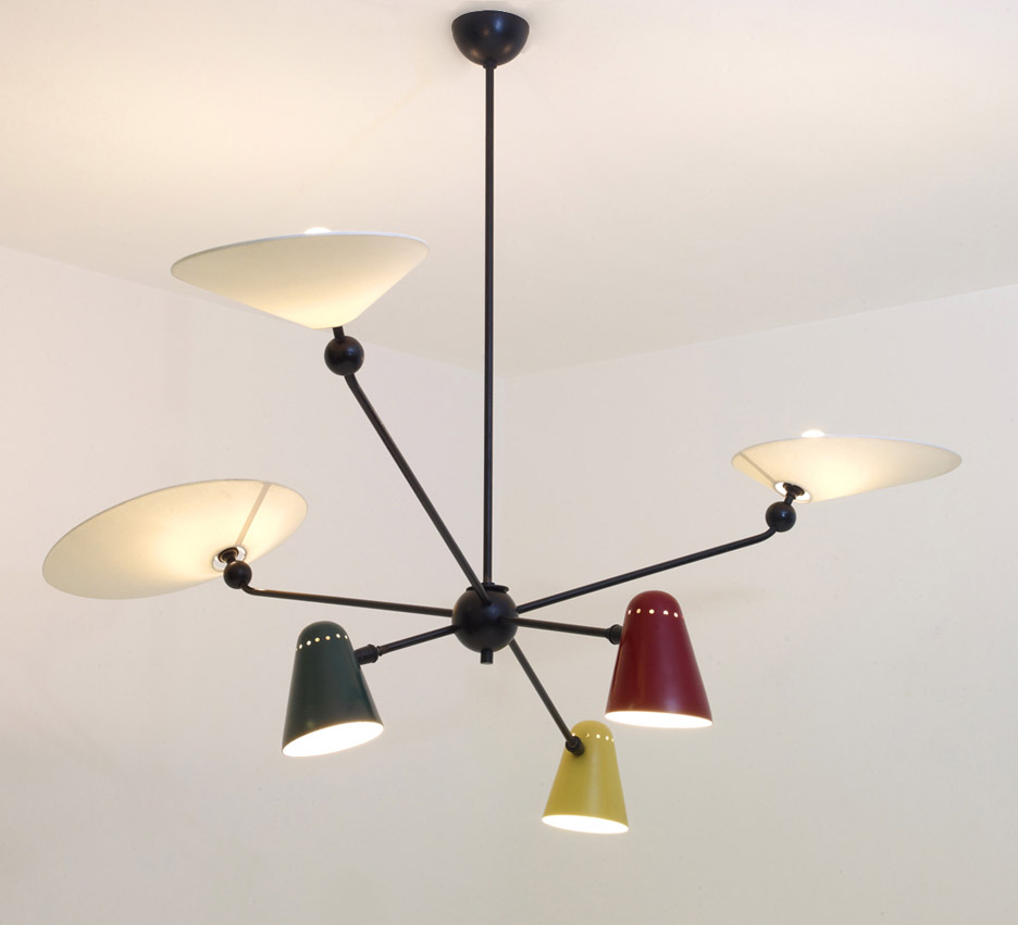 Robert Mathieu's 1954 six-armed ceiling lamp