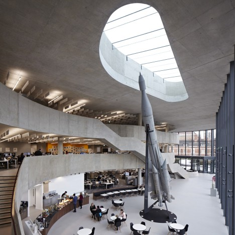 Hiscox office building by Make Architects features a grand staircase and a Soviet rocket