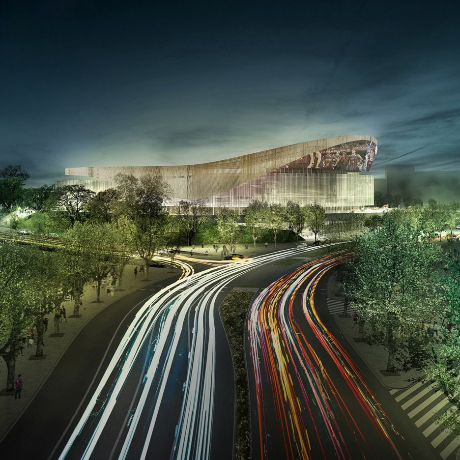 Basketball arena by HOK will be built in the shadow of FC Barcelona's Camp Nou stadium