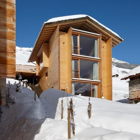 Cottages by Peter Zumthor, Switzerland. Photograph is by Ralph Feiner courtesy of Zumthor Ferienhäuser