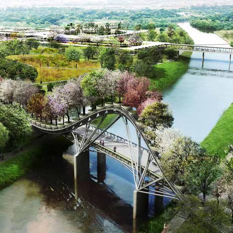 West 8 plans botanical garden for Houston featuring an arching tree bridge