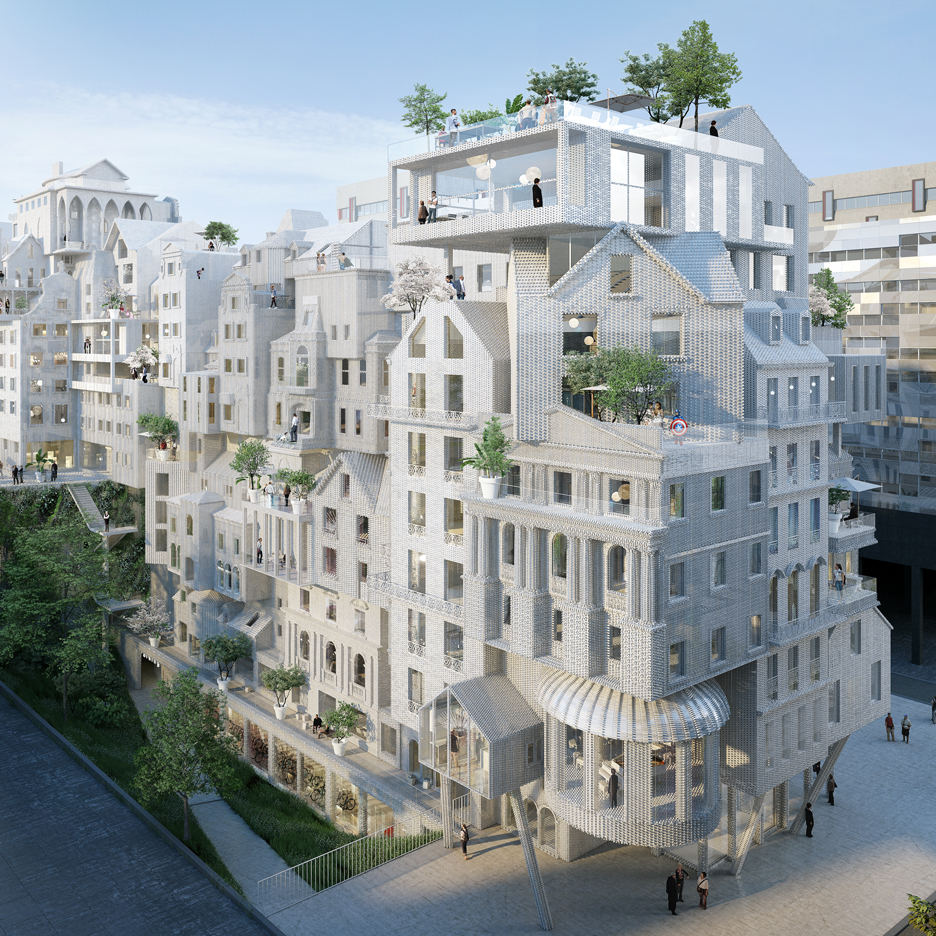 """Crowd built"" housing block by Périphériques envisioned as a cluster of small buildings"