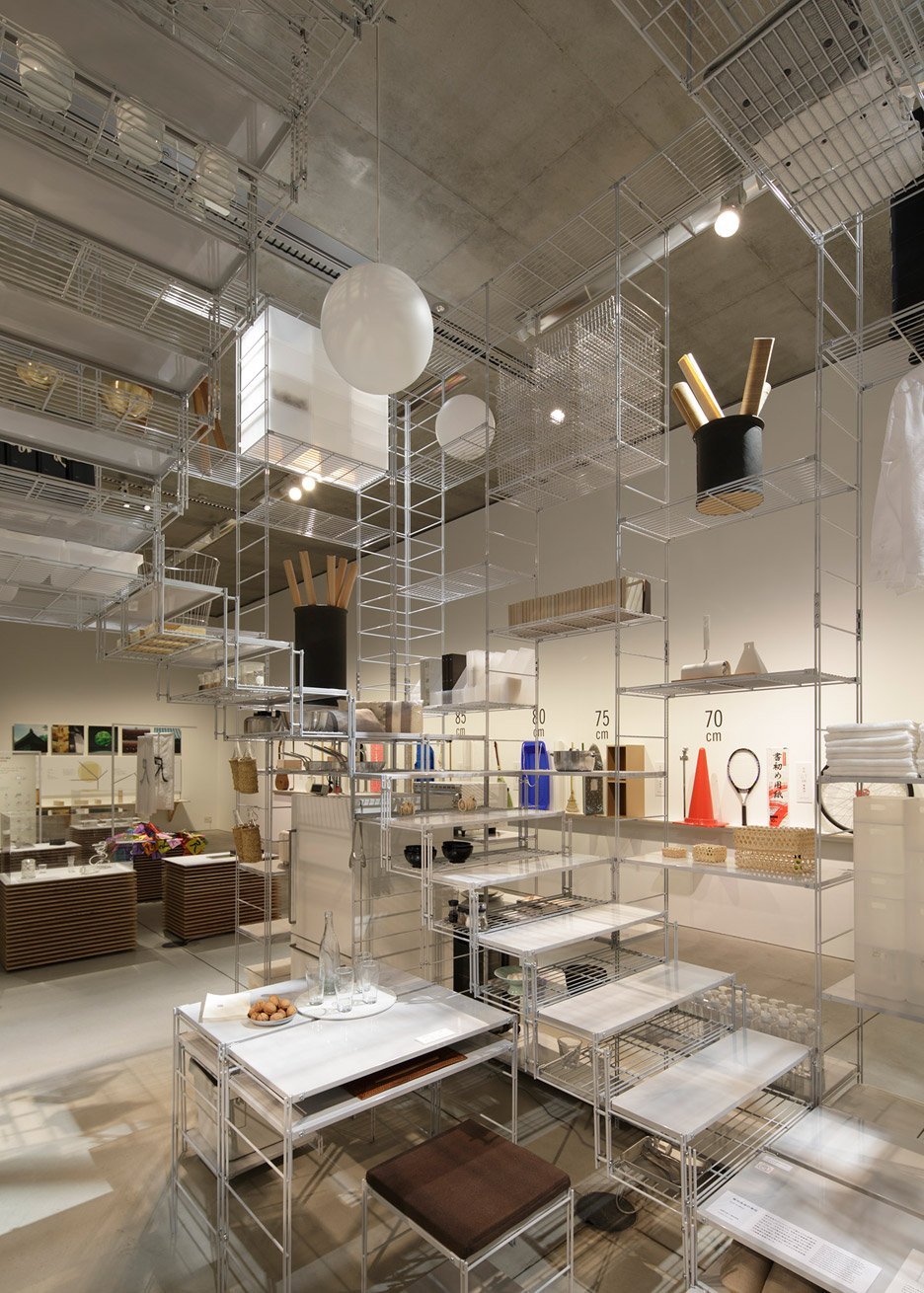 Fumihiko Sano installation with MUJI shelving