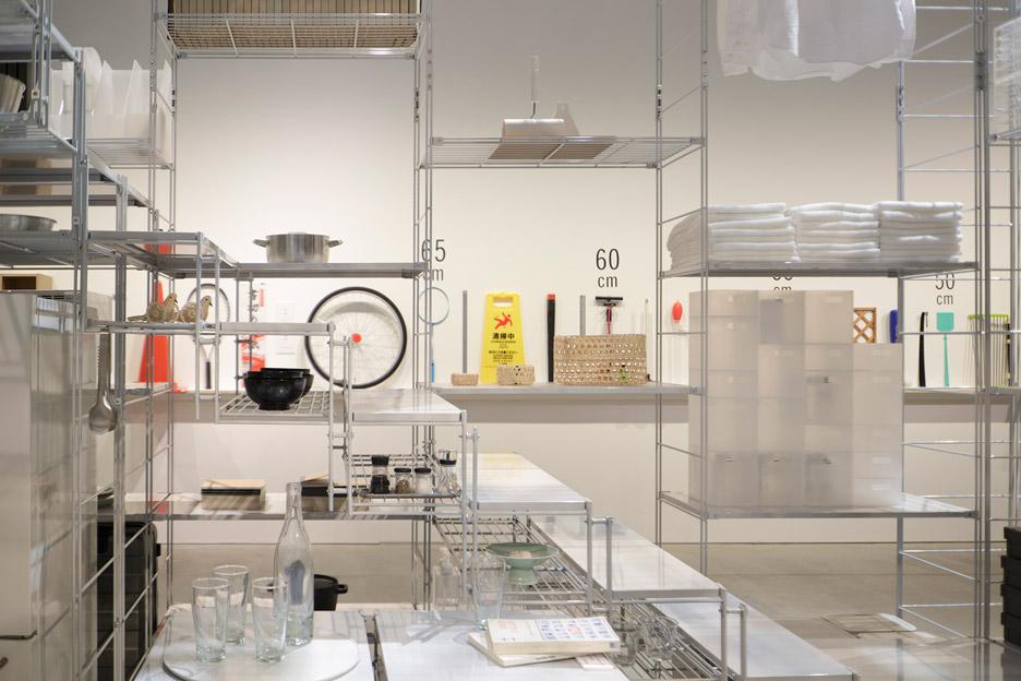 Fumihiko Sano installation with MUJI shelving