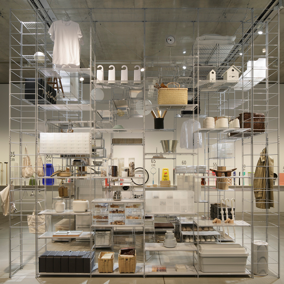 Muji shelving units combine to create a living space in Fumihiko Sano's installation