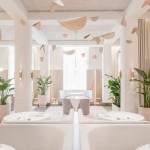 Universal Design Studio pairs pink terrazzo with grey velvet for Odette restaurant interior