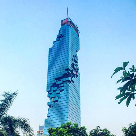 "Ole Scheeren's ""carved"" MahaNakhon skyscraper scheduled to complete this year"