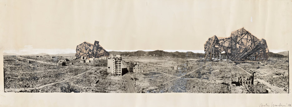 A photomural from Arata Isozaki's project Re-ruined Hiroshima