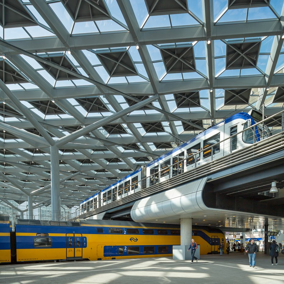 Benthem Crouwel's new station for The Hague brings light in through a patterned glass roof