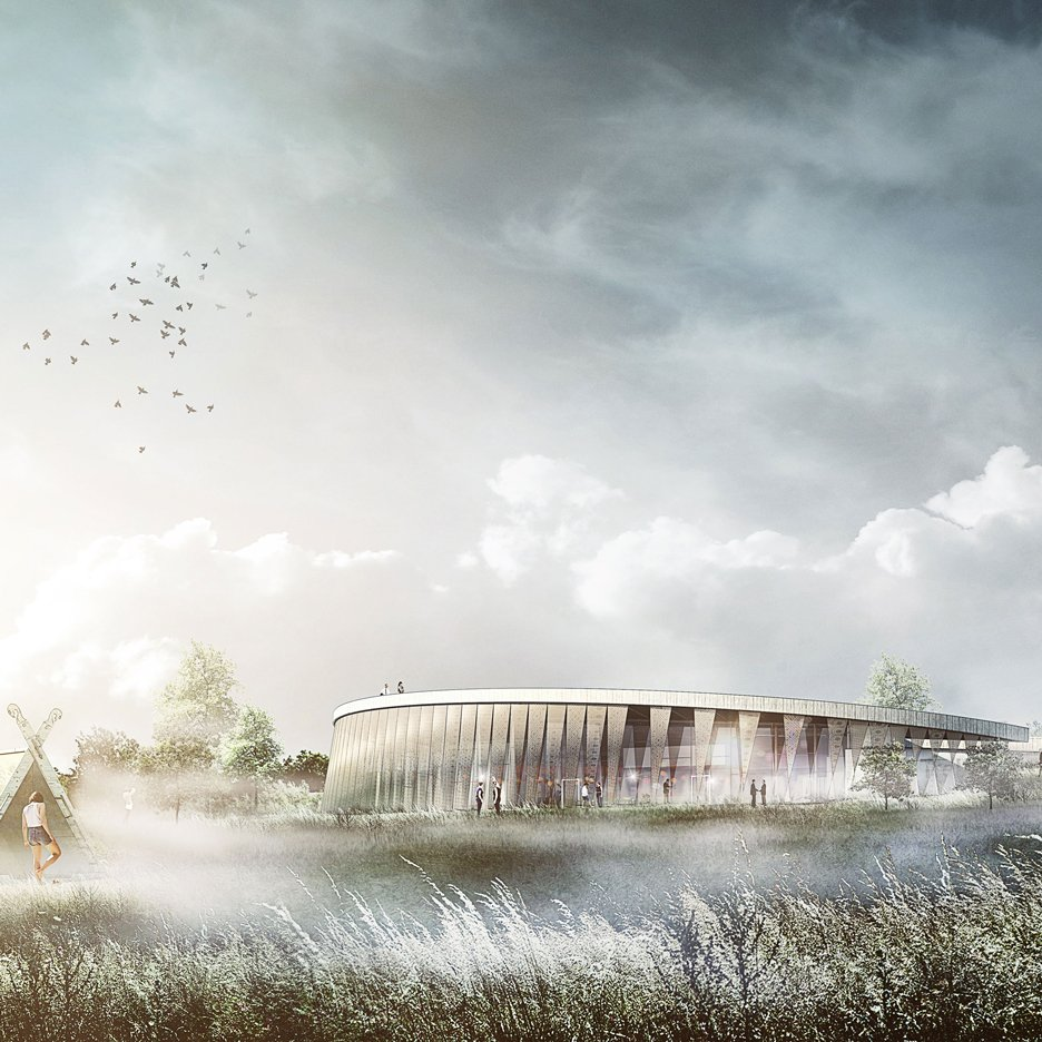 PLH Arkitekter reveals plans for shield-shaped visitor centre at Danish Viking site