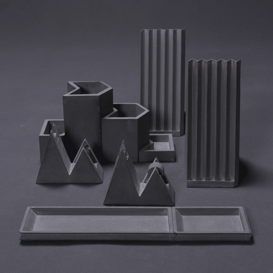 Umn Design creates concrete stationery based on folded paper