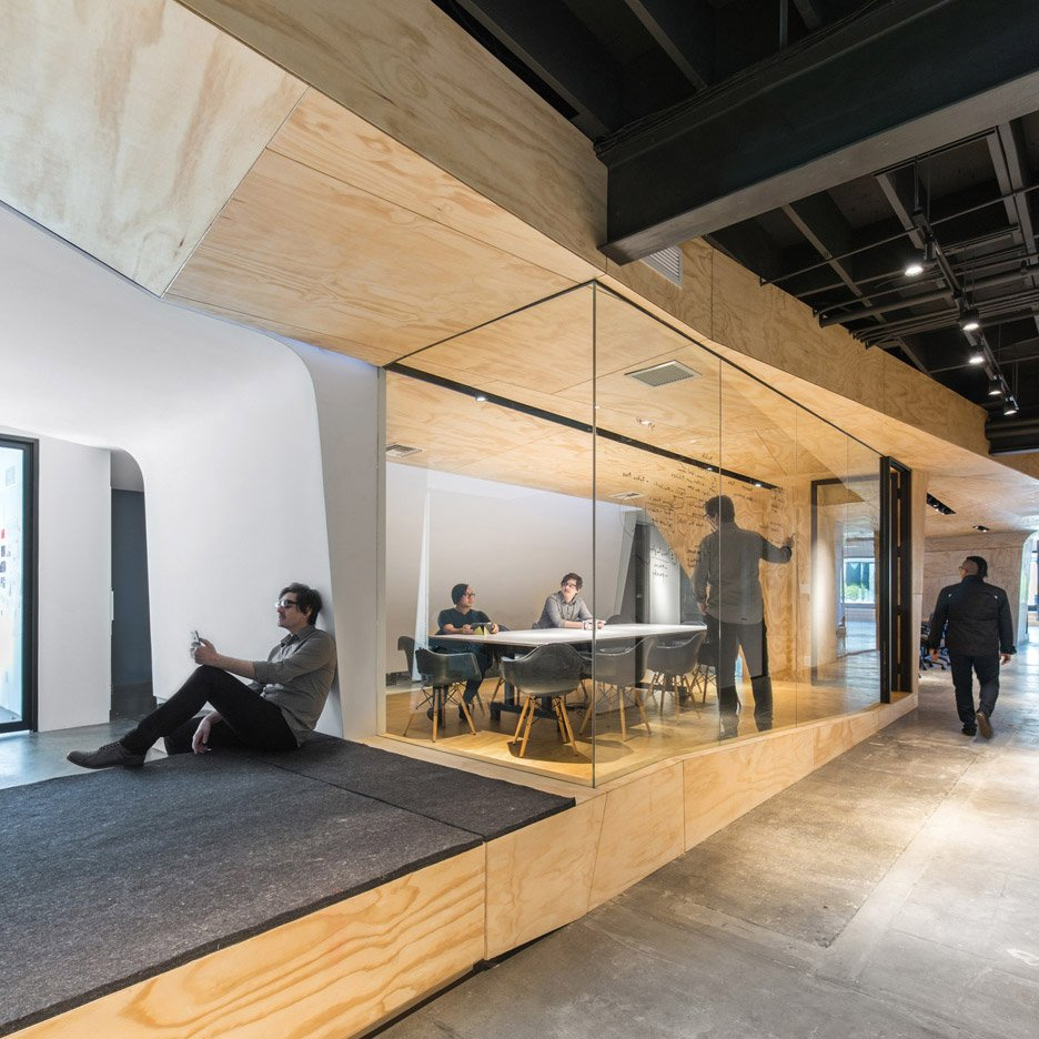 Converted warehouse office by domaen features sculptural for Office design dezeen