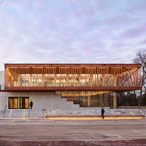 Studio Gang wraps Chicago performing arts centre in glass and wooden battens