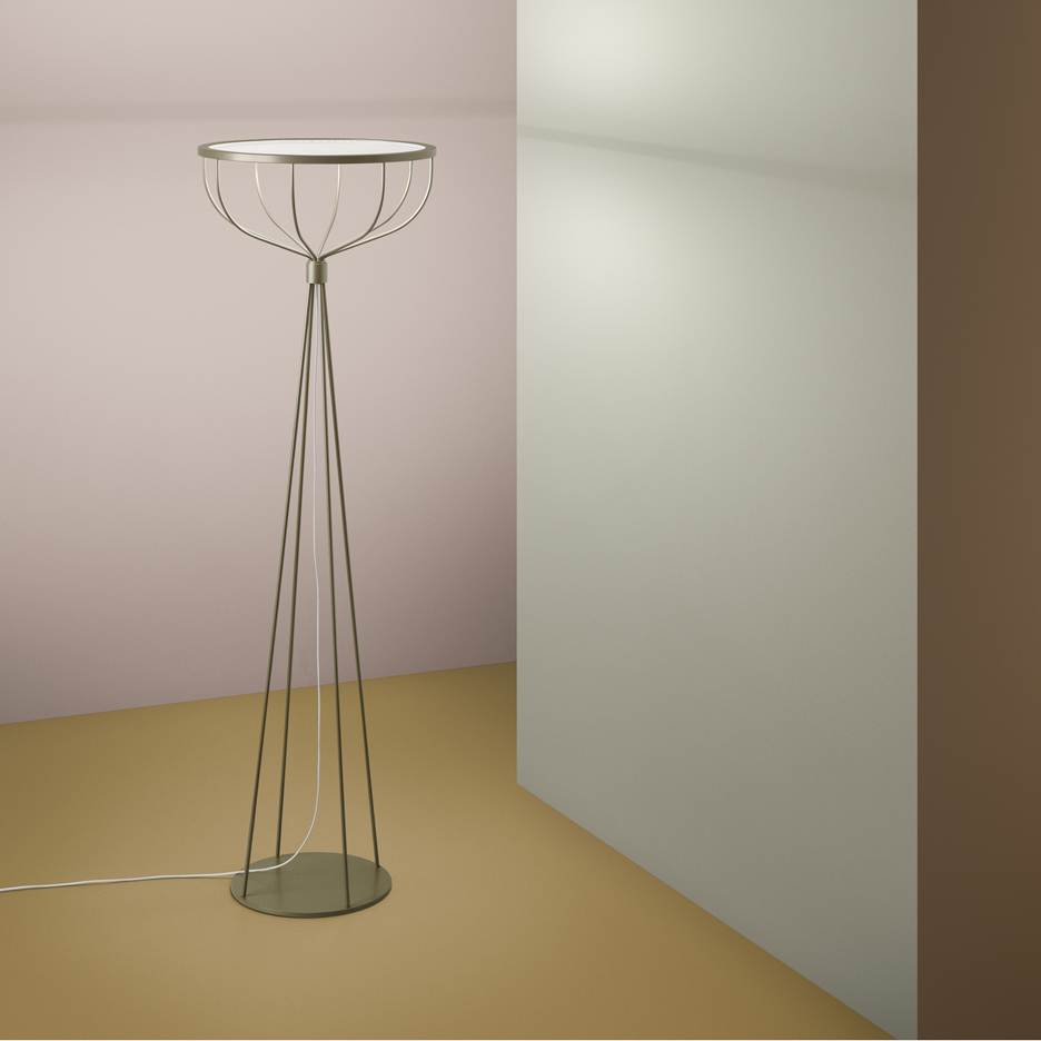 Wire cage supports disc-shaped diffuser in Front's Plane lamp for Zero