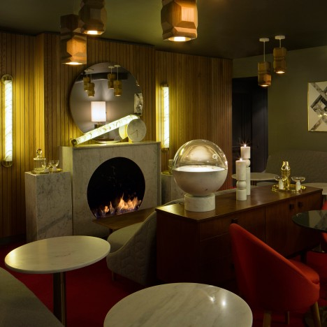 Lee Broom used his own marble homeware and lighting pieces to furnish this prostitution-themed London restaurant, which he completed in November 2014