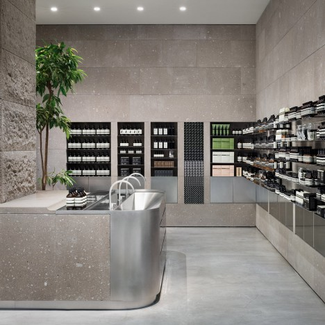 Case-Real references snowy Japanese mountains with Aesop Sapporo store interior