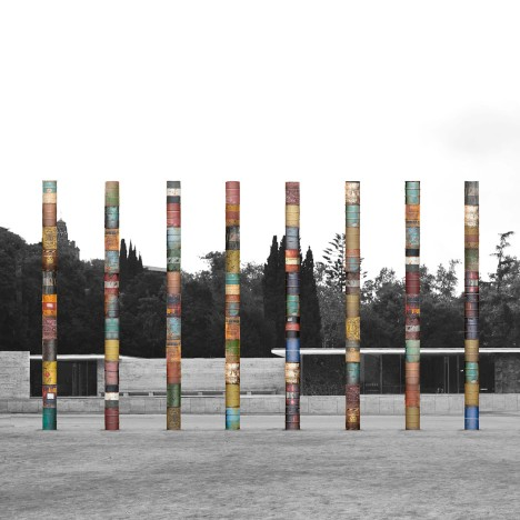 Steel-drum columns to be installed in front of Mies van der Rohe's Barcelona Pavilion