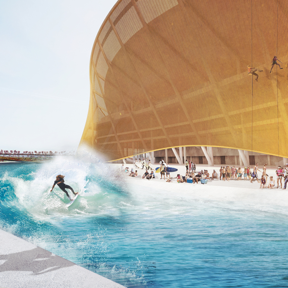 BIG's new Amercian football stadium for the Washington Redskins could offer abseiling, surfing and kayaking