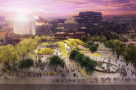 Fab Civic Center proposal in Los Angeles, USA by Brooks + Scarpa Architects