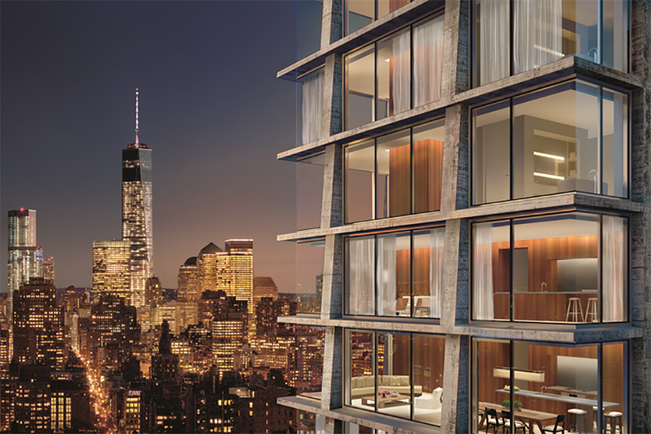 215 Chrystie in Lower Manhattan is Schrager's newest collaboration with Herzog & de Meuron combining high-end residential apartments with a luxury hotel and is due to be completed in 2016