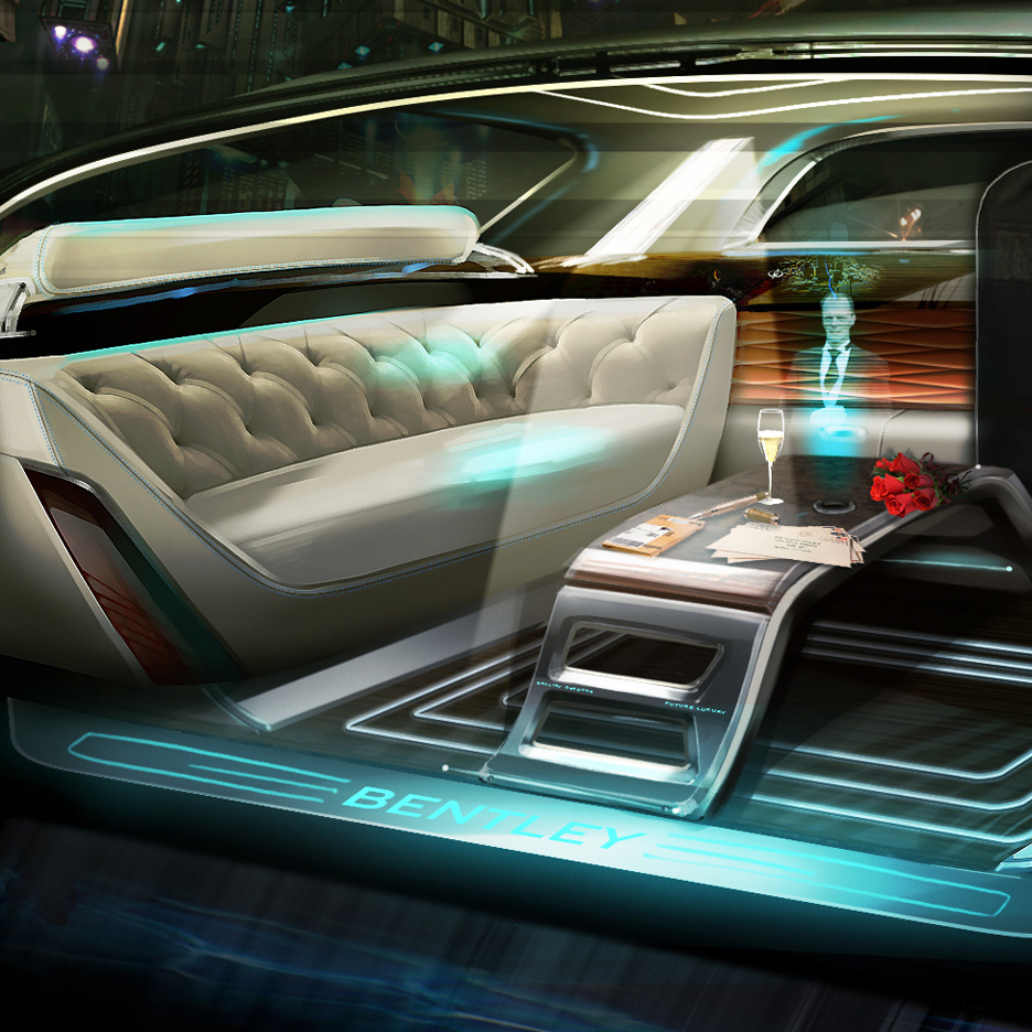 Image showing what Bentley's future autonomous vehicle might look like, featuring large sofas and a holographic butler