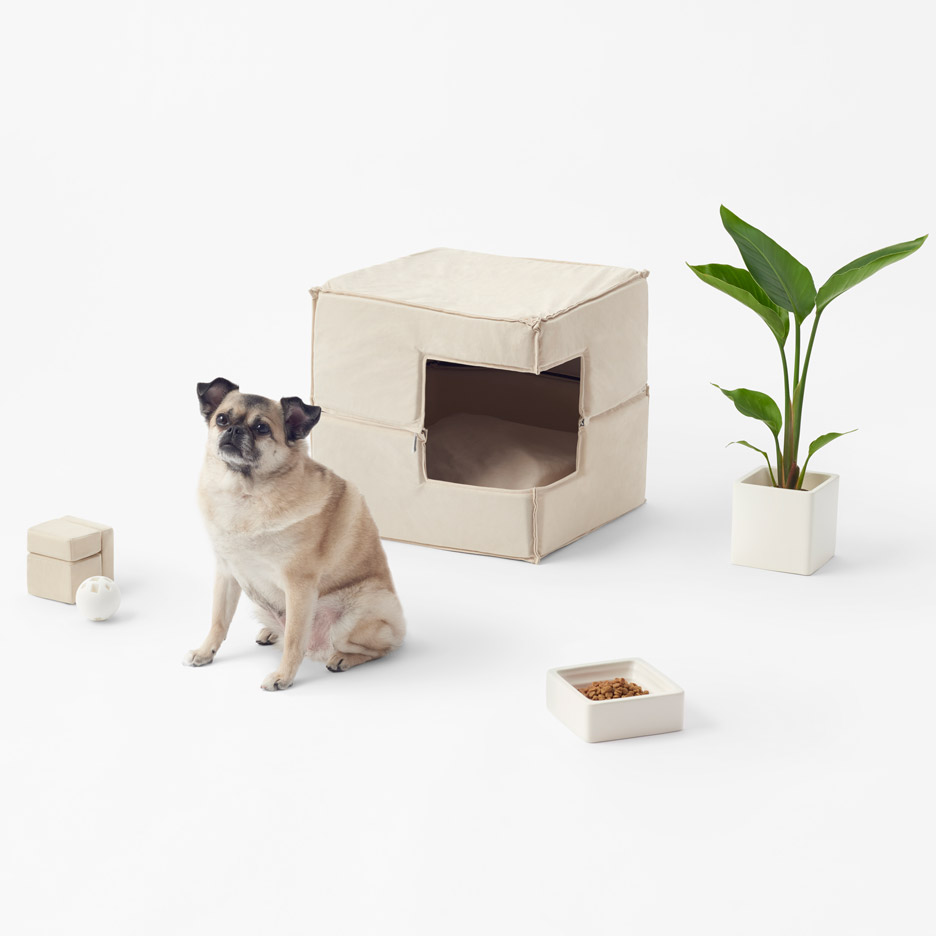 Nendo's Cubic pet accessories designed to complement minimal interiors