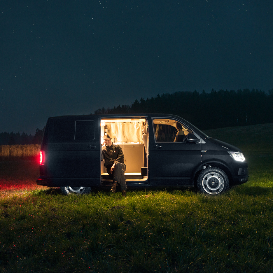 "Nils Holger Moormann designs minimal interior for ""inconspicuous"" Volkswagen Bus"