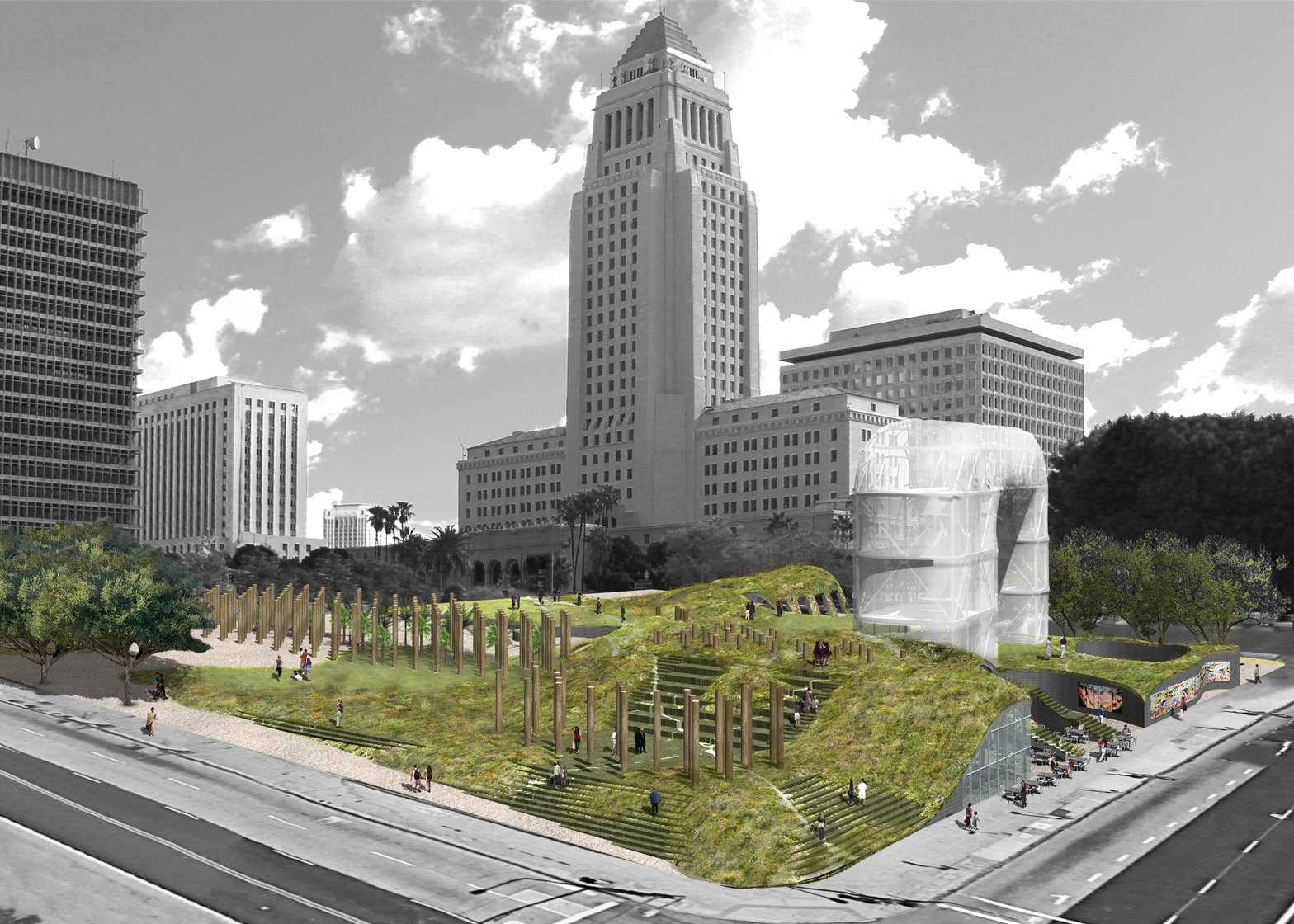 Fab Civic Center proposal in Los Angeles, USA by Eric Owen Moss Architects