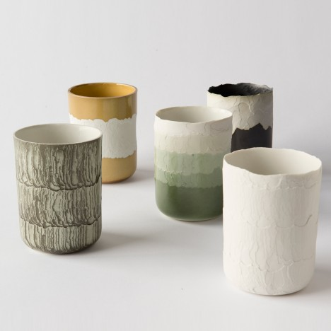 Floris Wubben etches patterns into Erosion ceramics using heat