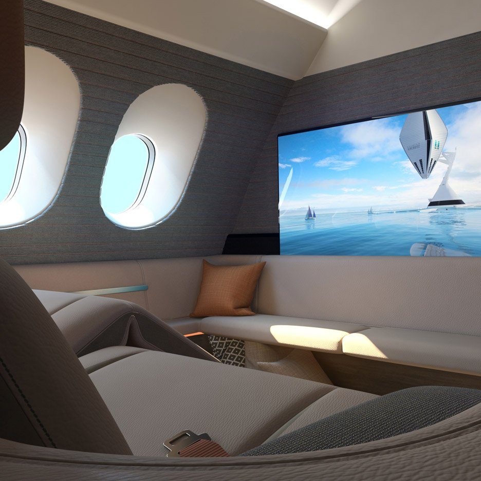 First spaces luxury aircraft lounge by Seymour Powell