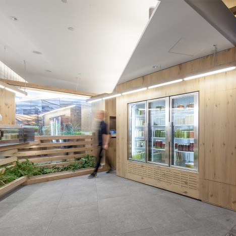 Kilogram Studio designs cedar-lined interior for Toronto juice bar
